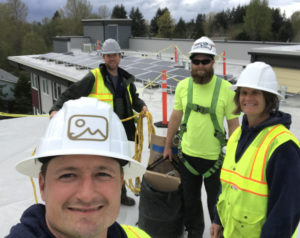 South Sound Solar crew on-site, smiling, and taking a selfie!